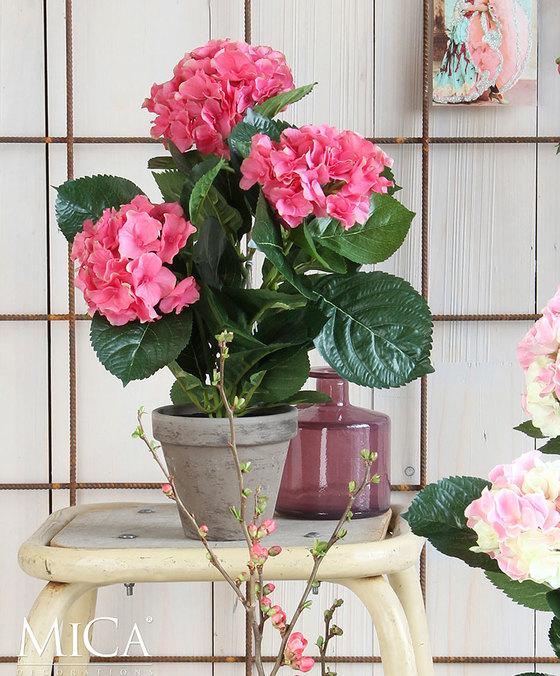 هايدرينج بينك في وعاء ستان رمادي 'نباتات اصطناعية زهور