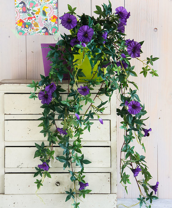 Petunia Hanging Purple with Pot Artificial Plants Flower
