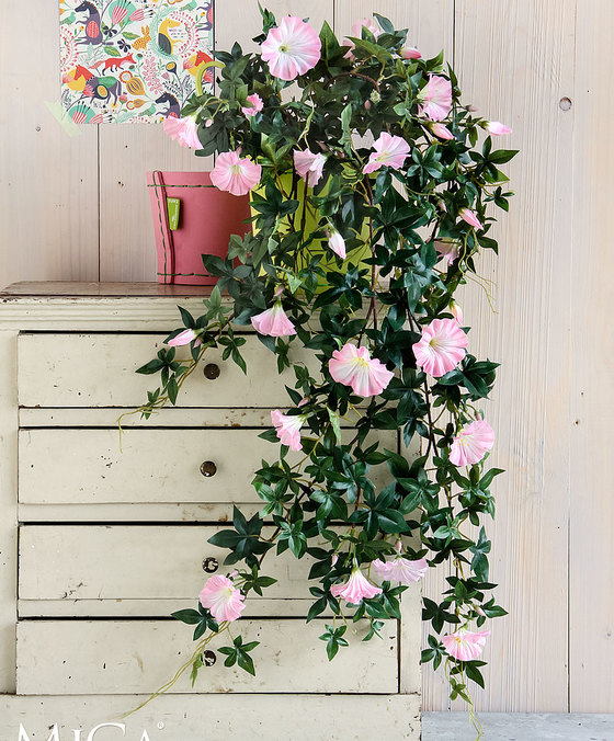 Petunia Hanging Pink with Pot Artificial Plants Flower