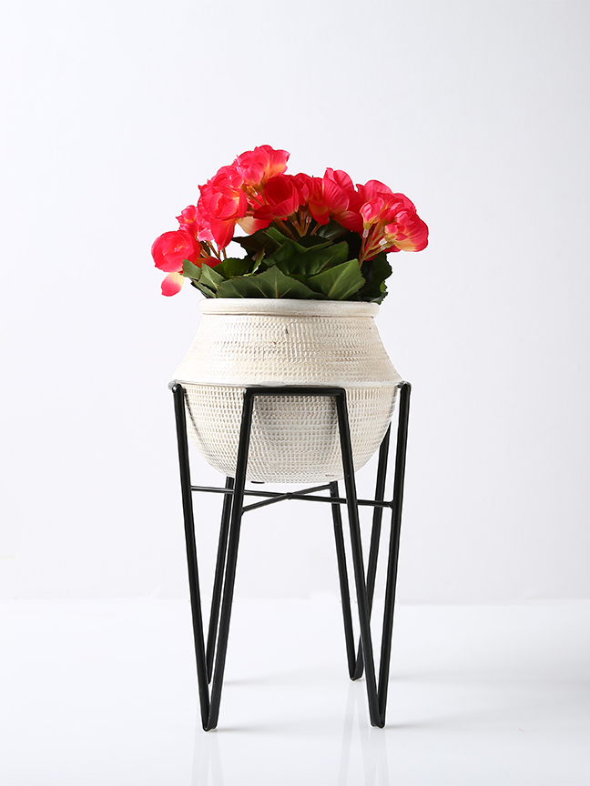 Begonia With Stan Grey Pot Artificial Plants Flower