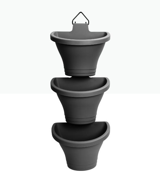 Corsica Vertical Forest 24cm Anthracite 'Pots & Vases Plastic Pots