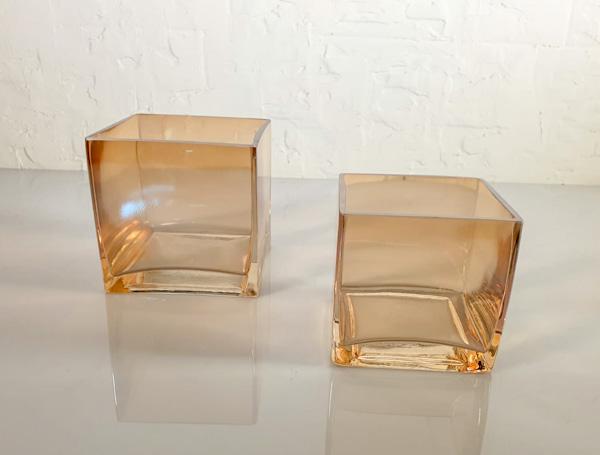 وعاء زجاجي مربع - قطعتين أواني و مزهريات مزهرية