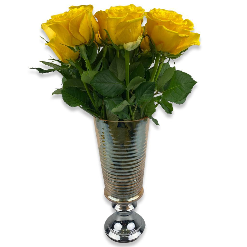 Yellow Roses Arrangement Flower with Base With Base