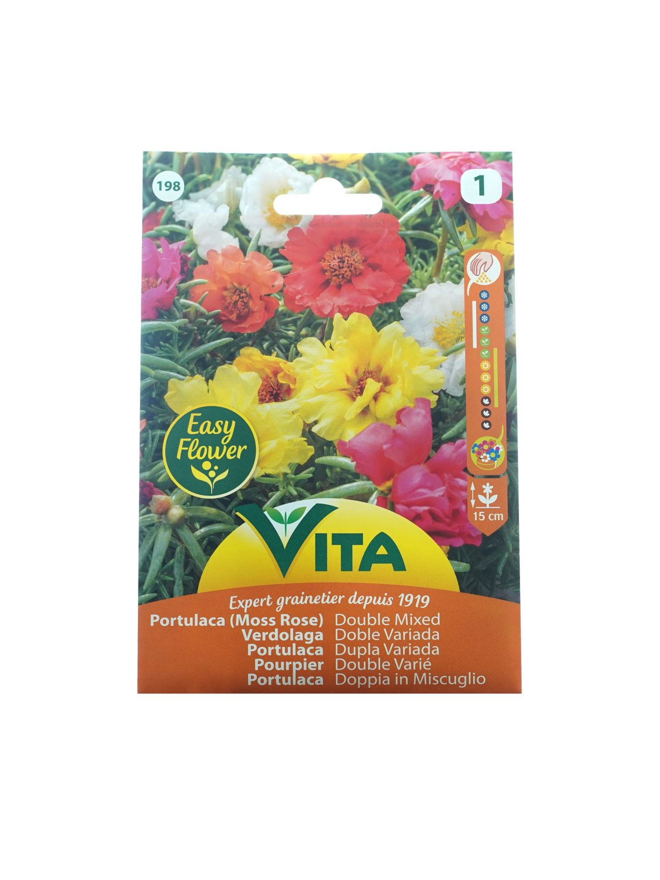 Vita Portulaca (Moss Rose) Double Mixed  Seeds Herbs
