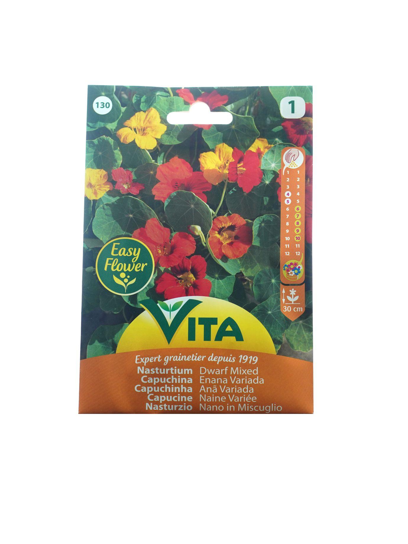 Vita Nasturtium Dwarf Mixed Seeds