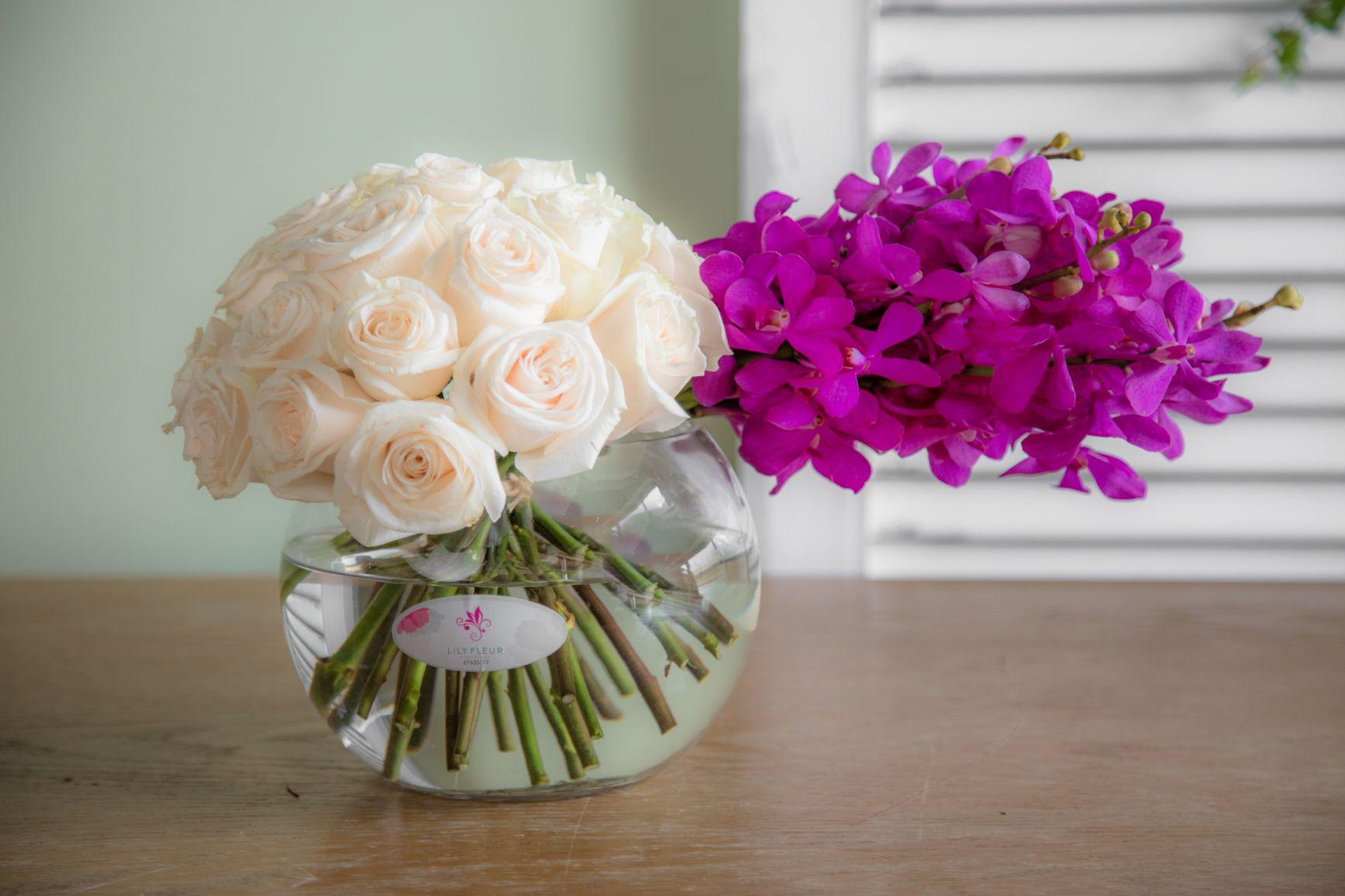 ليلي سرنيتي 'زهور مع قاعدة'