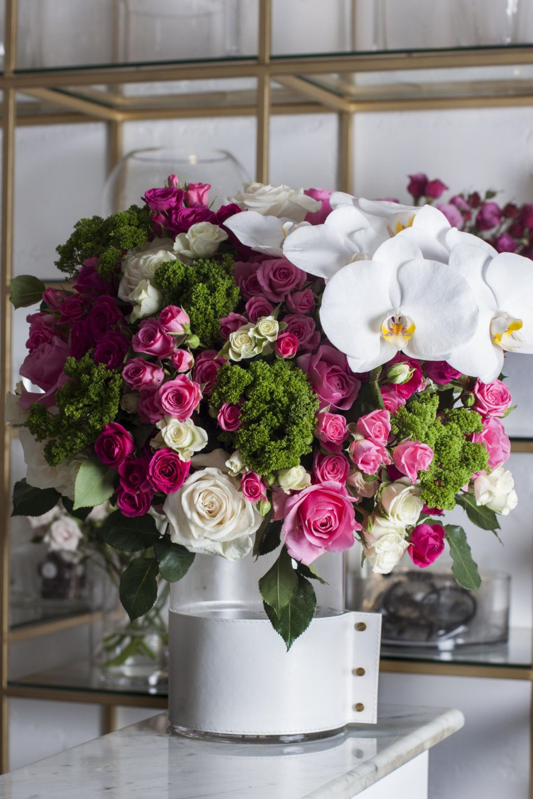 White Leather Vase Flower with Base