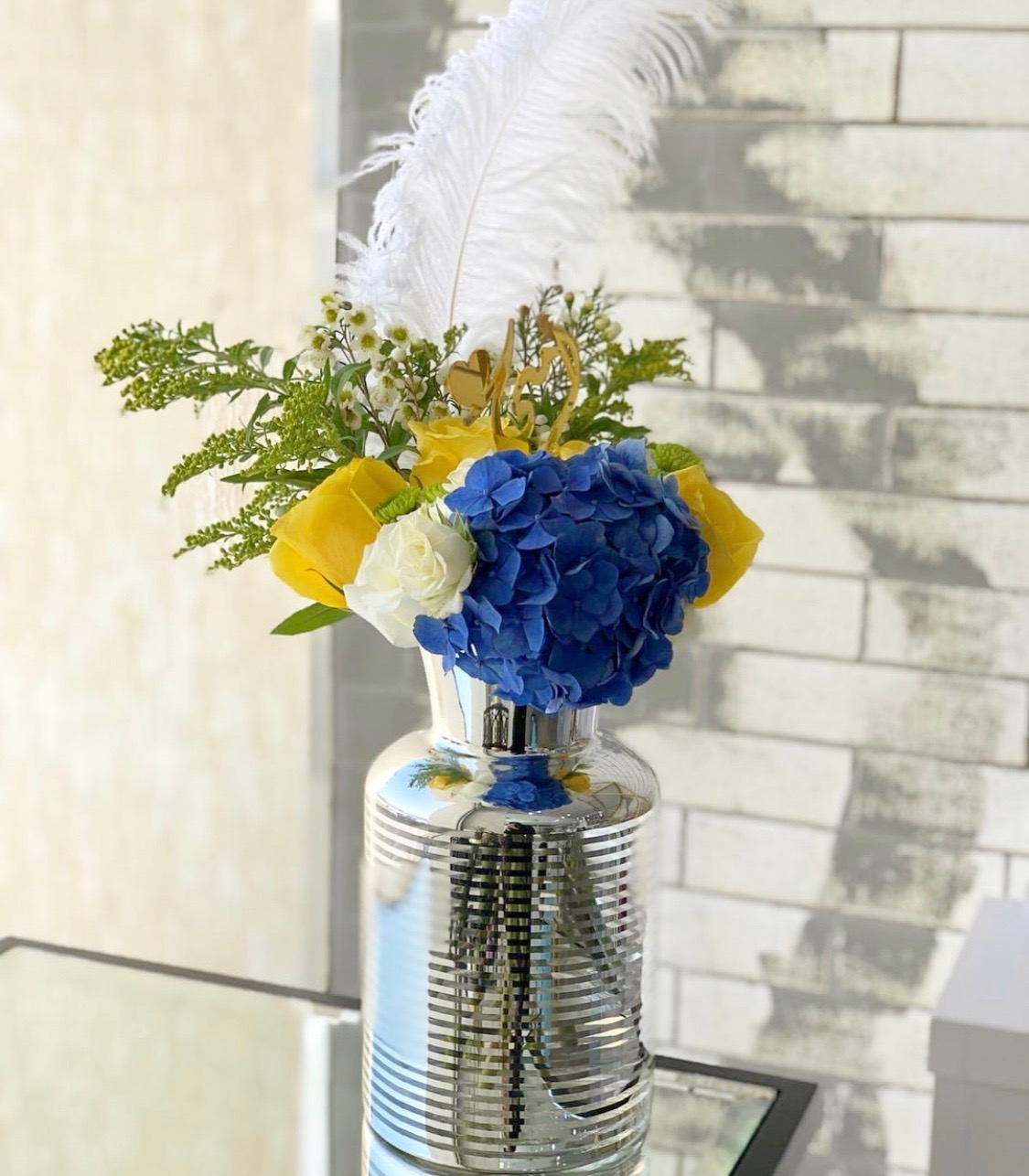 Silver Vase Flower with Base
