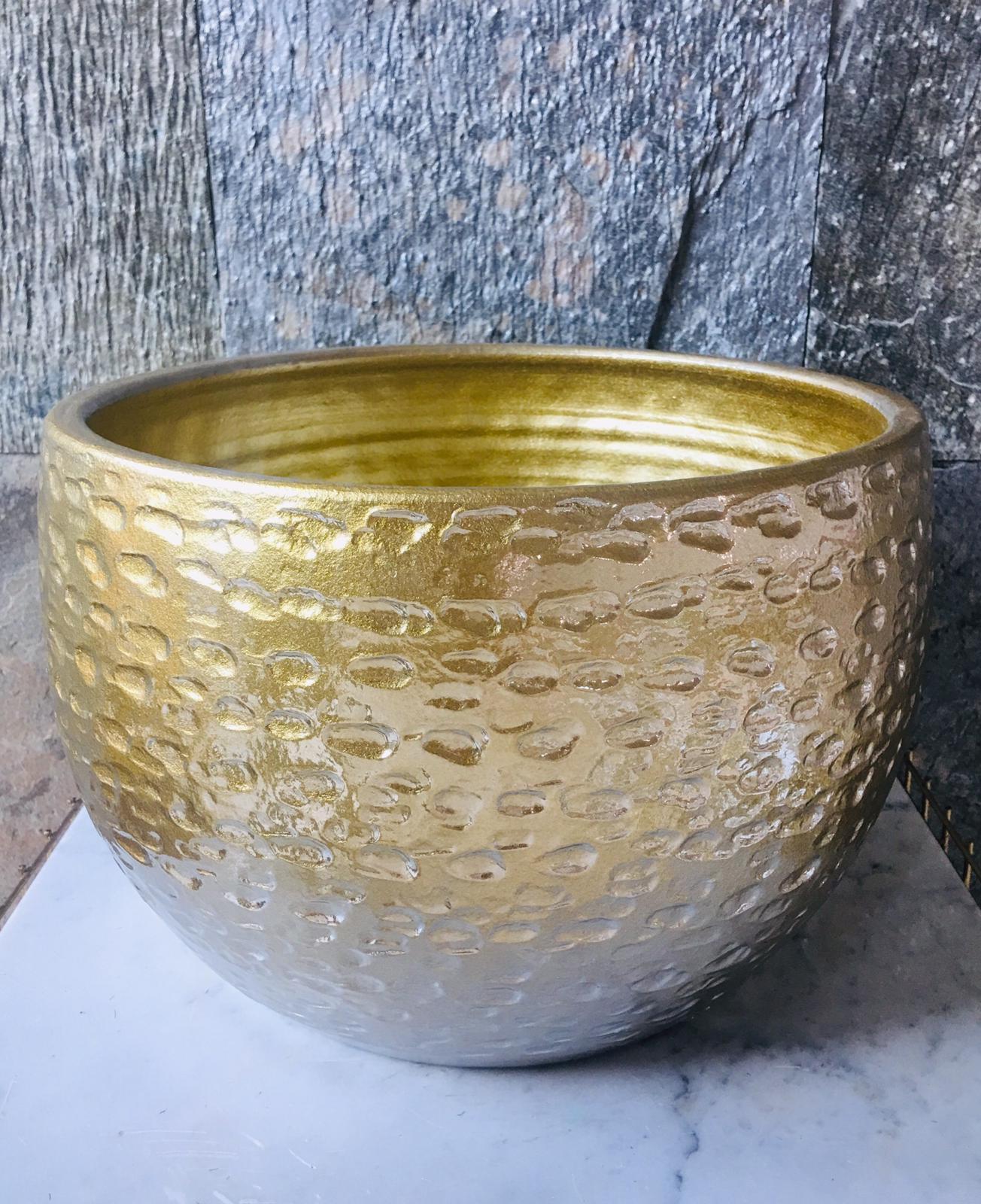 Pot High Rel Torro Sh Gold - 2 'Pots & Vases'