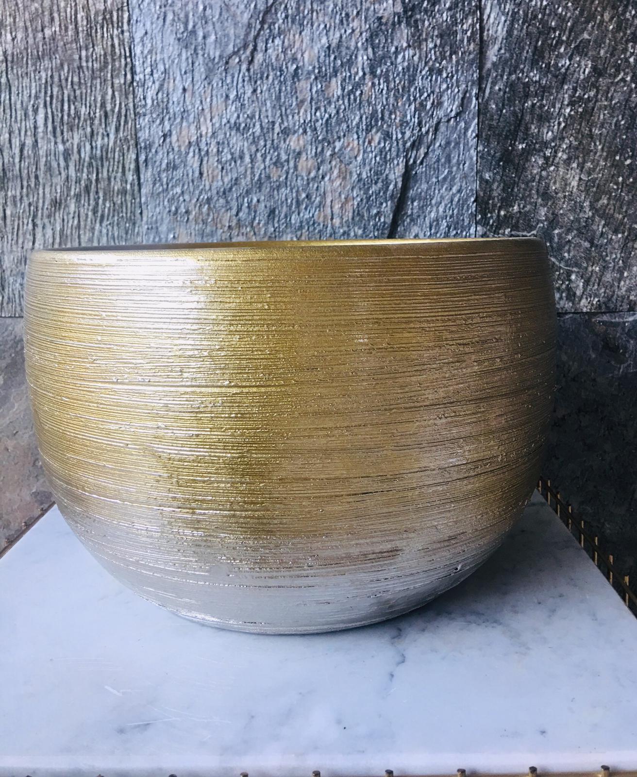 Pot High Rel Kolom Sh Gold -2 'Pots & Vases'