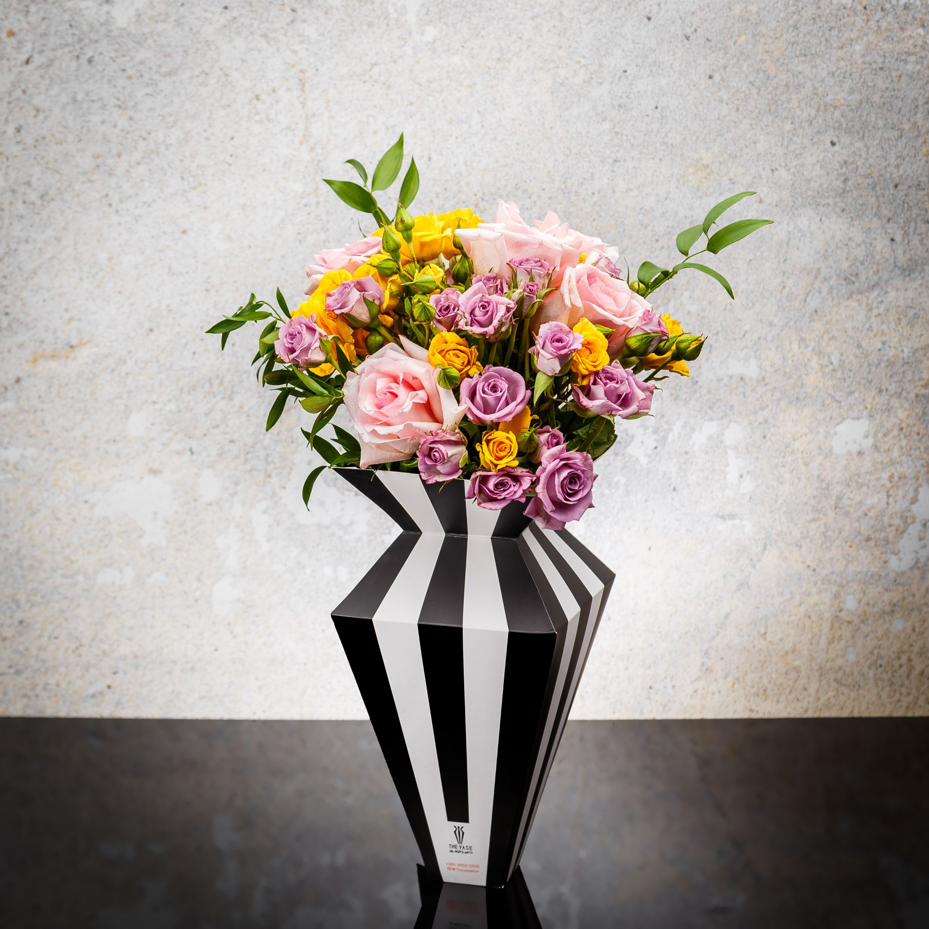 Stripe paper Vase 3 Flower with Base With Base
