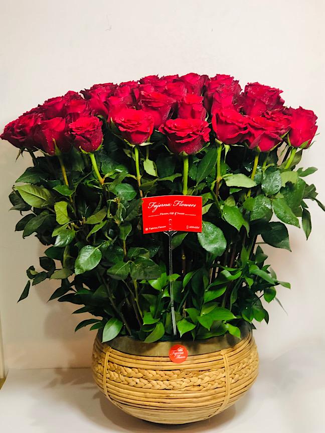 أحمر مخملي 'زهور مع قاعدة'