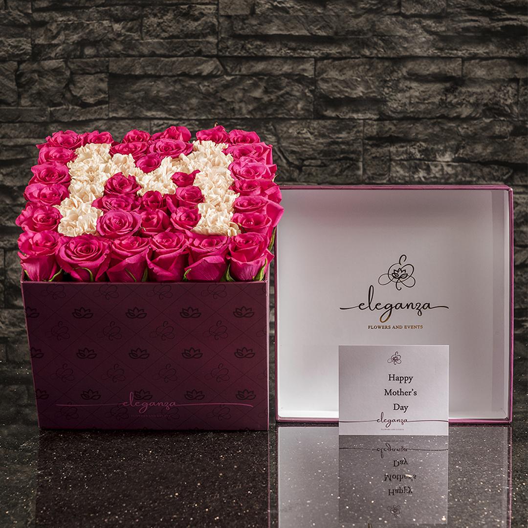 LetterBox زهور مع قاعدة
