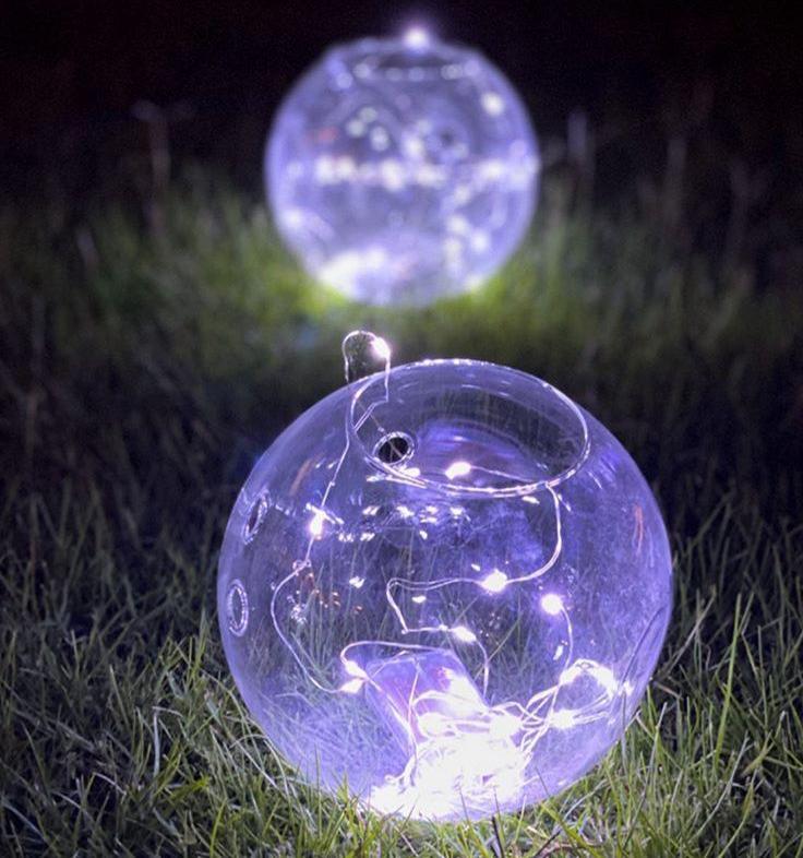 فازات زجاجية مدورة مع إضاءة - 5 فازات  'موسم الأعياد'