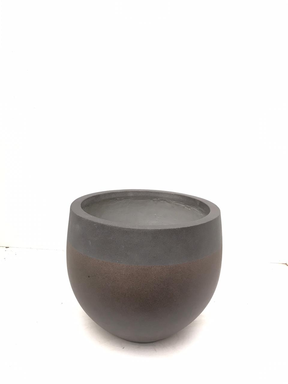 Round Three Quarters Beige Pot - Small Pots & Vases