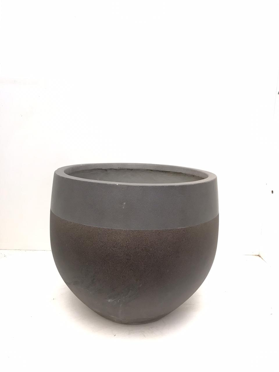 Round Three Quarters Beige Pot - Large Pots & Vases