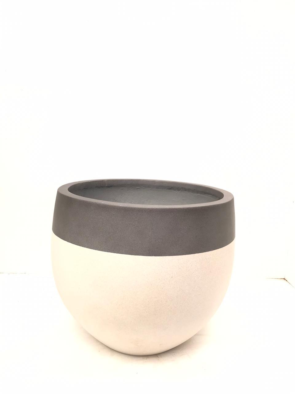 Round Three Quarters Cream Large Pots & Vases