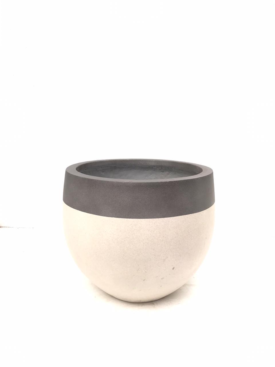 Round Three Quarters Cream Small Pots & Vases