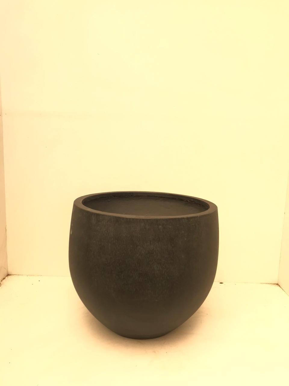 Round Ficon Black Stone Large Pots & Vases