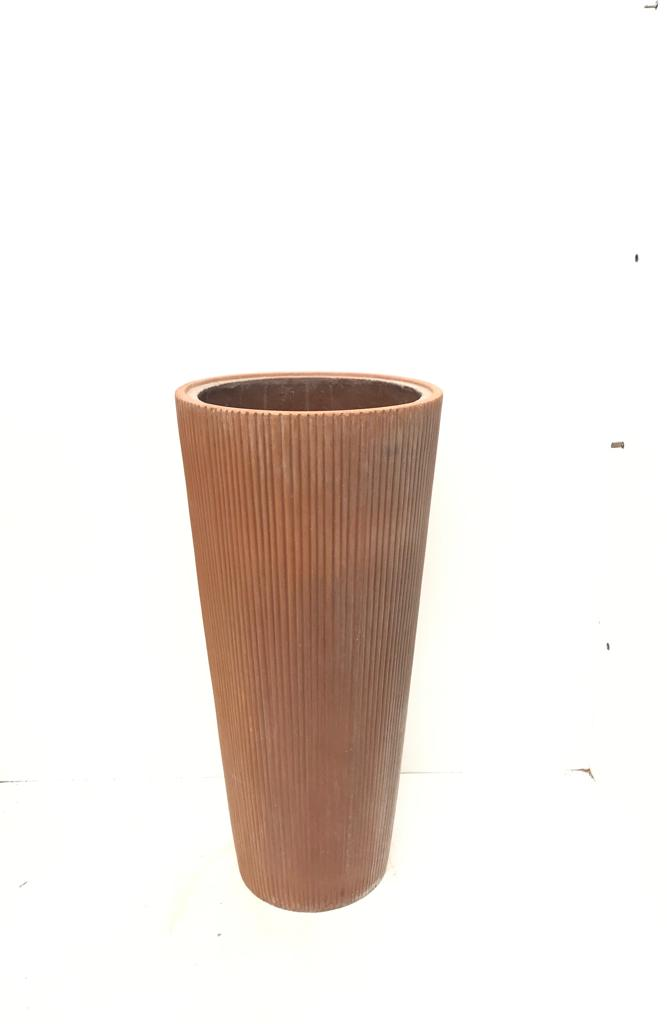 Round High Vertical Stripes Ant Rust S Pots & Vases