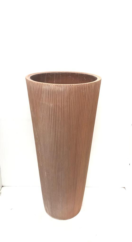 Round High Vertical Stripes Ant Rust L Pots & Vases