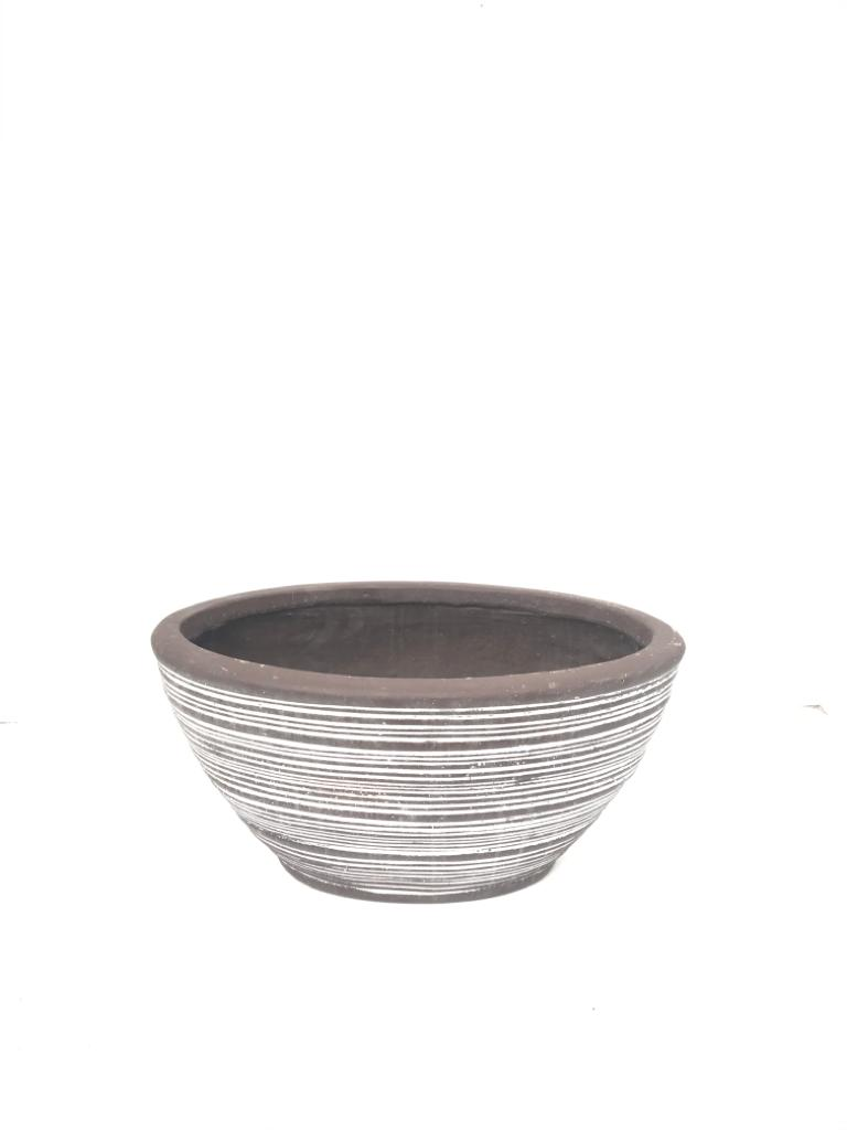 Oval Ficonstone Brown Washed Medium Pots & Vases