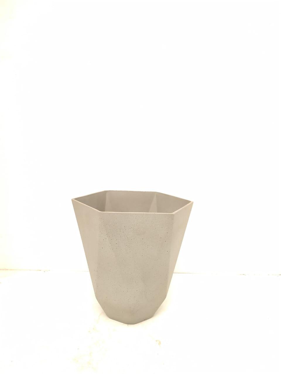 Sandstone Pot Hex Nat Cement Small Pots & Vases