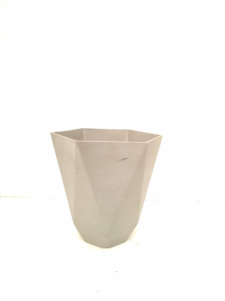 Sandstone Pot Hex Nat Cement Medium Pots & Vases