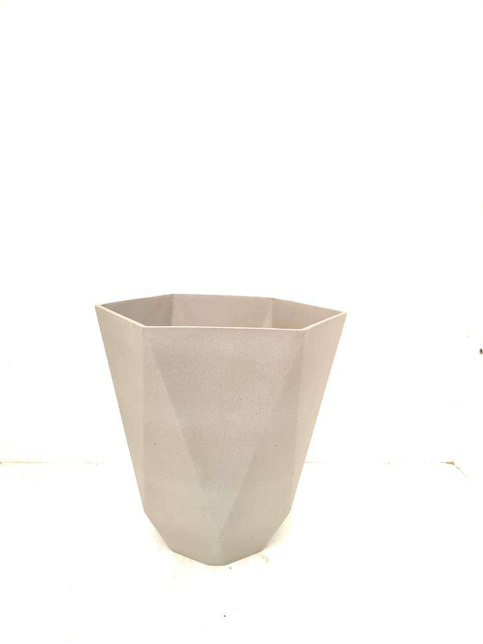 Sandstone Pot Hex Nat Cement Large Pots & Vases