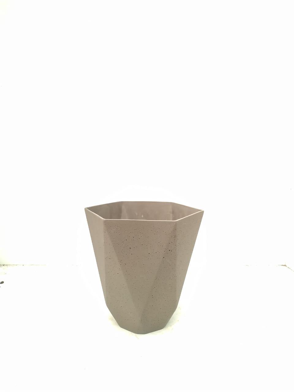 Sandstone Pot Hex Nat Brown Small Pots & Vases