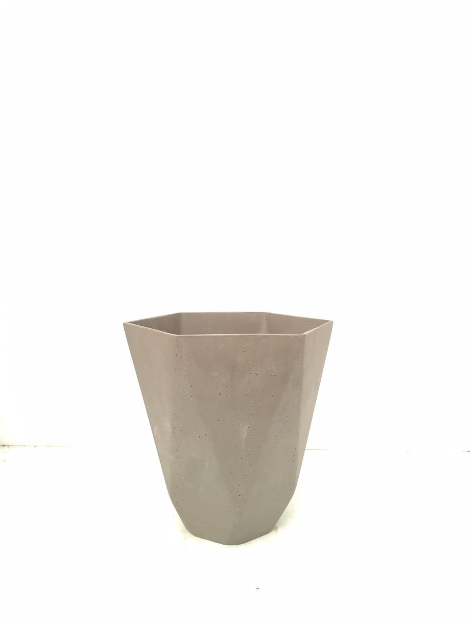 Sandstone Pot Hex Nat Brown Medium Pots & Vases