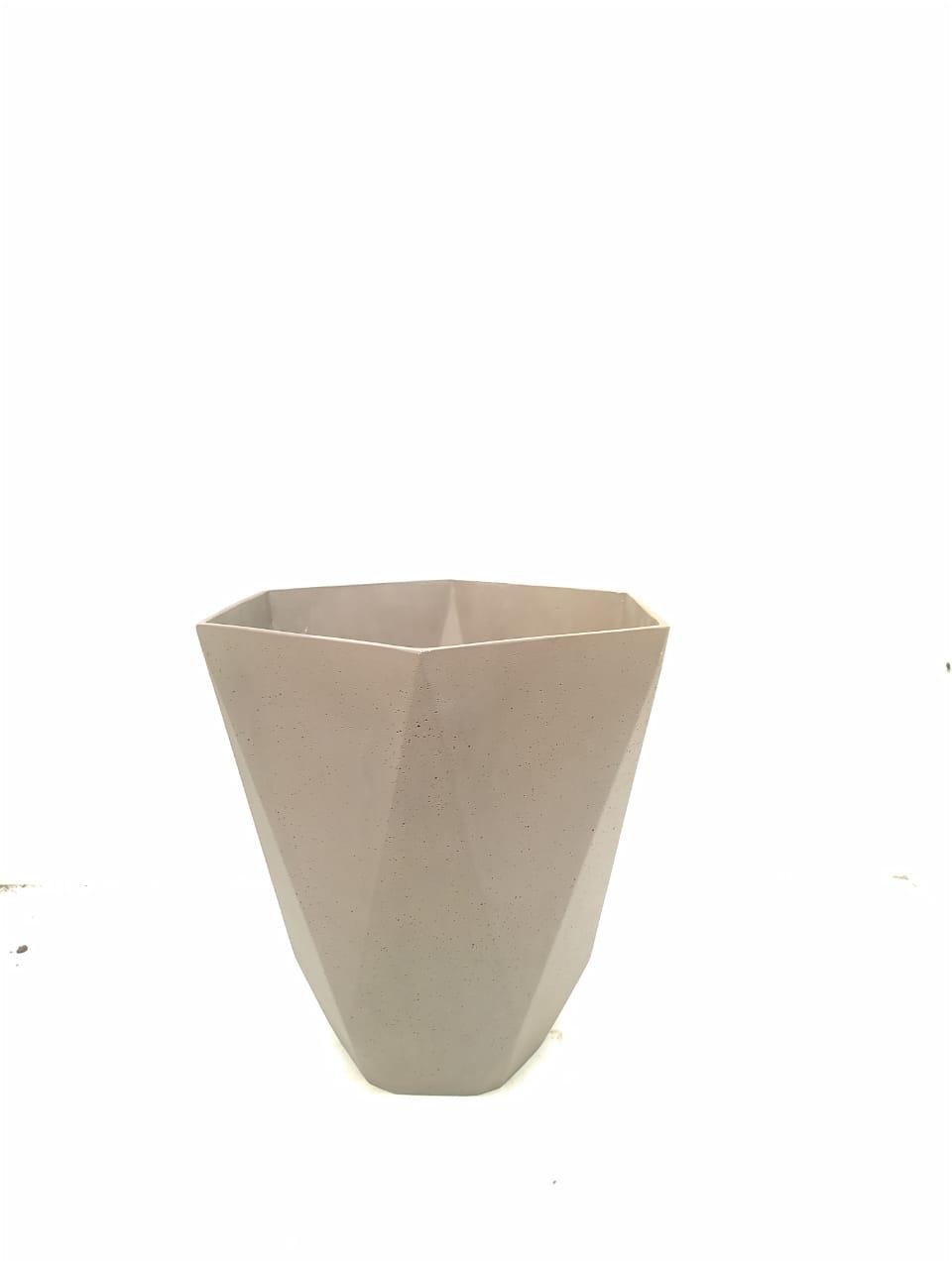 Sandstone Pot Hex Nat Brown Large Pots & Vases