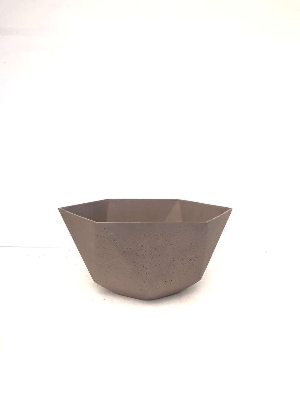 Sandstone Pot Hex Brown Pots & Vases