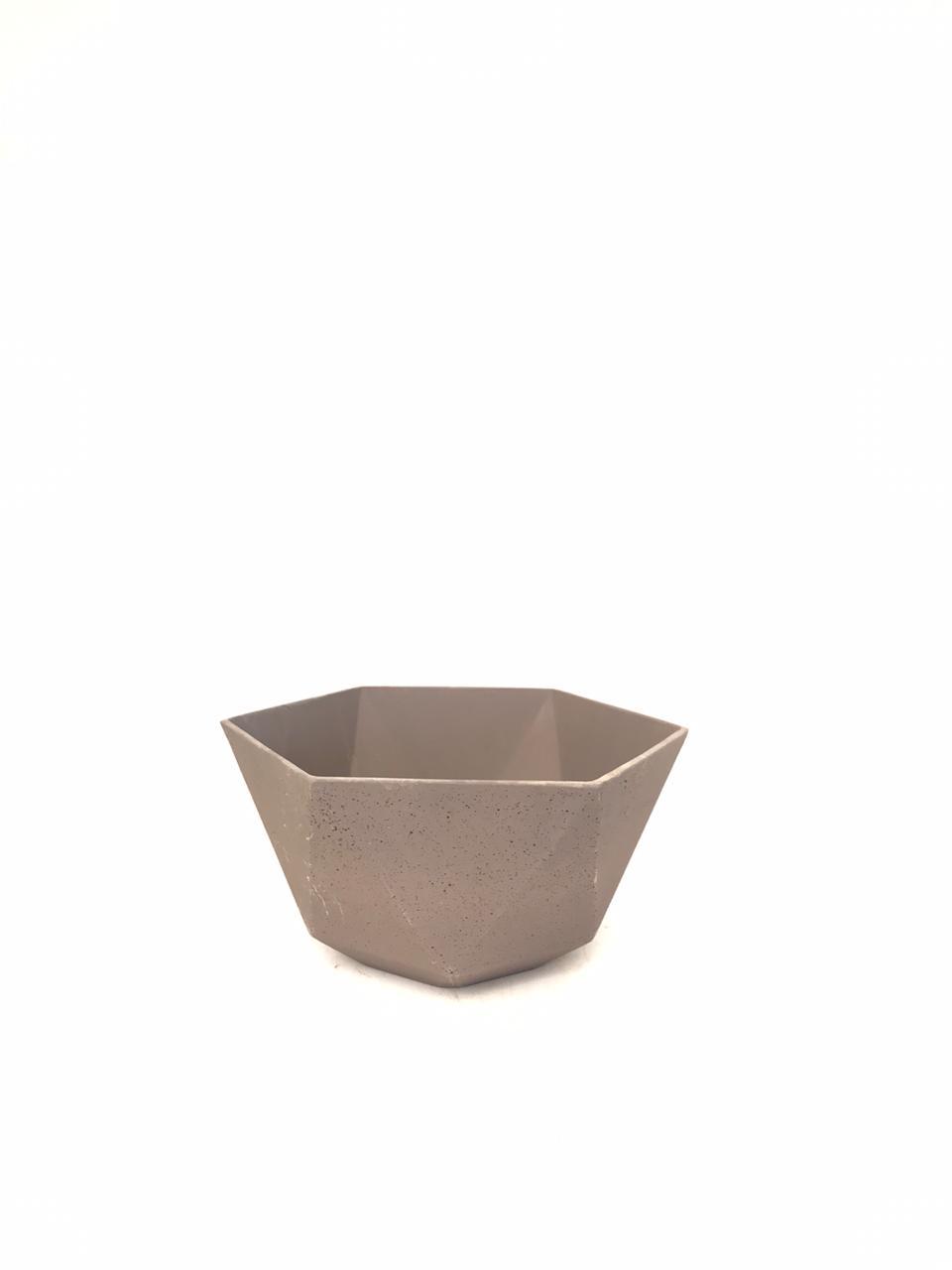 Sandstone Pot Hex Brown Small Pots & Vases