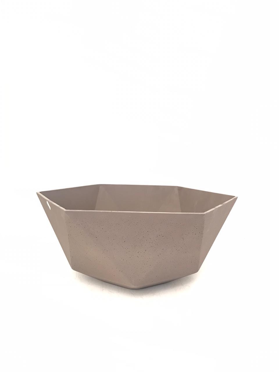 Sandstone Pot Hex Brown Medium Pots & Vases
