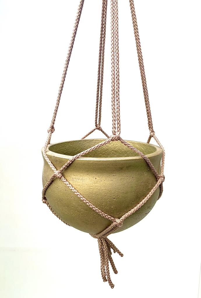 Hanging Cement Pot (Gold) Pots & Vases