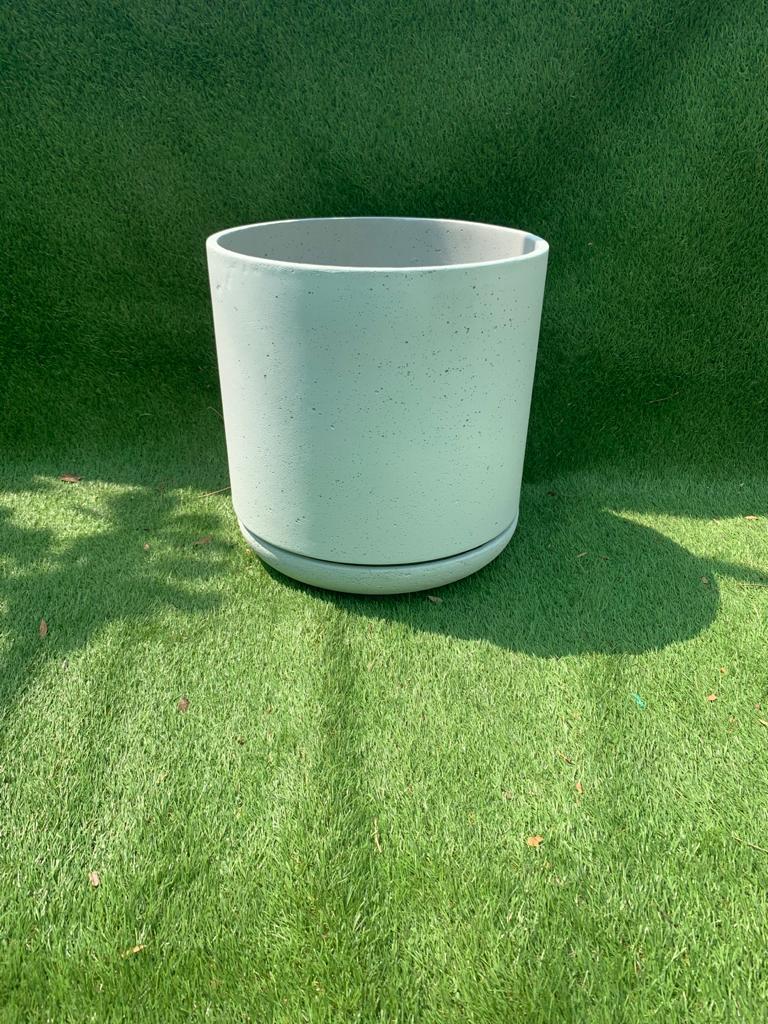 Round Lime Concrete Pot W Saucer Natural White Large 'Pots & Vases'