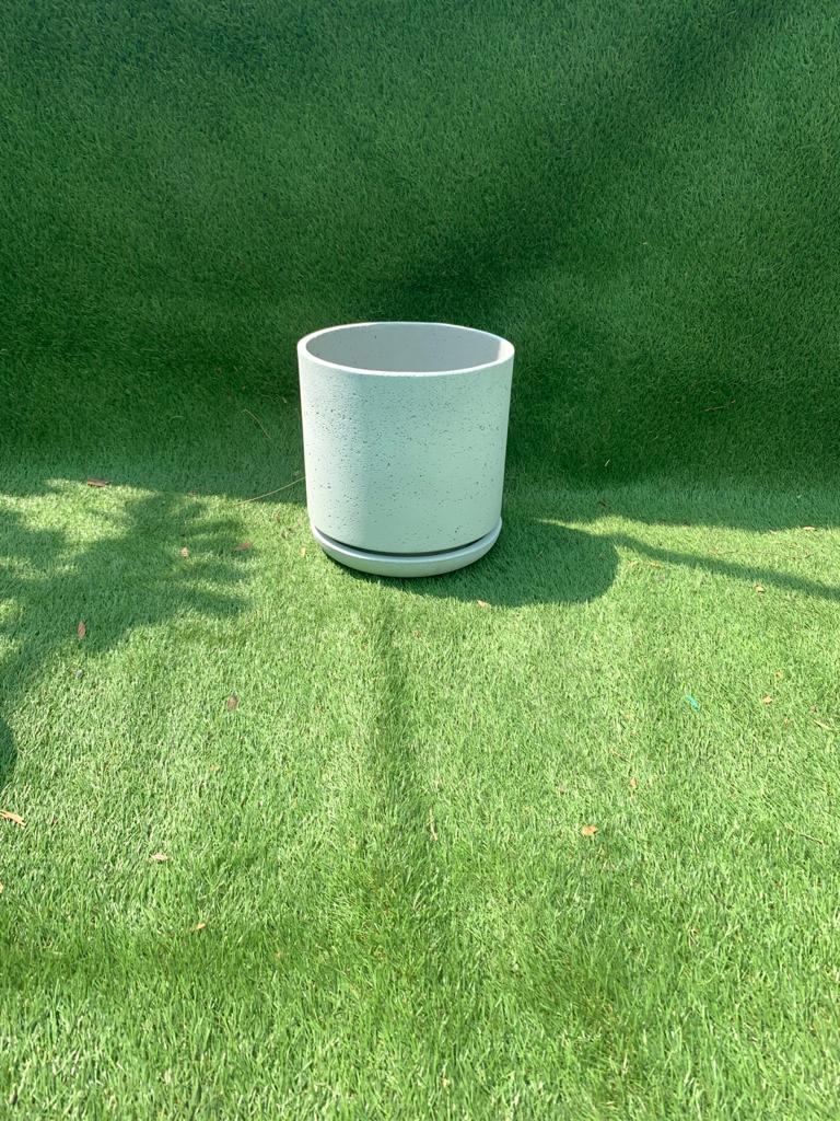 Round Lime Concrete Pot W Saucer Small Pots & Vases
