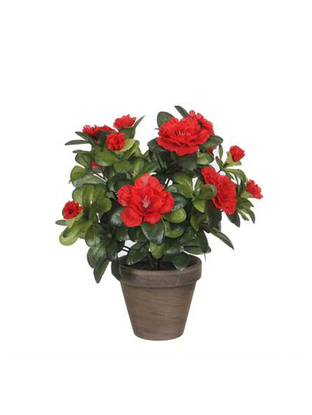 Begonia With Stan Grey Pot Artificial Plants
