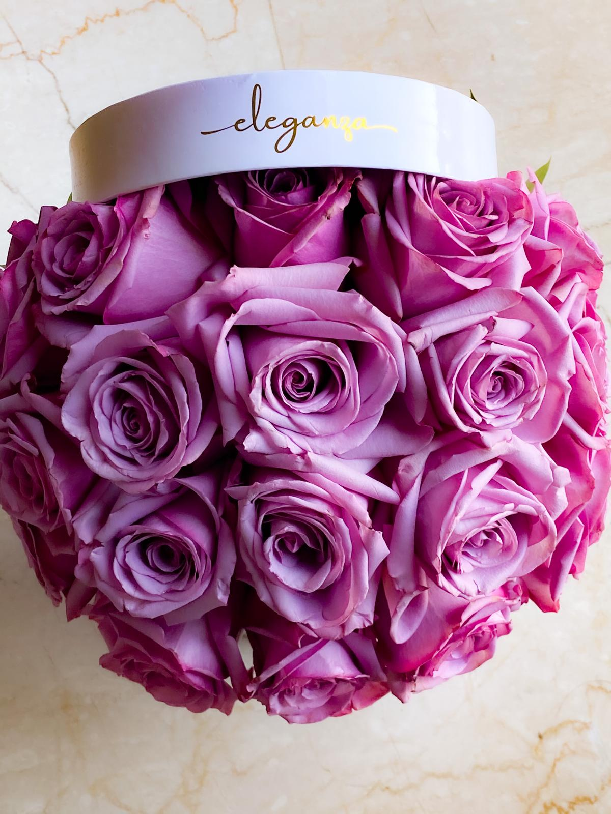 Signature BloomBox (Round) - Purple Rose Flower with Base