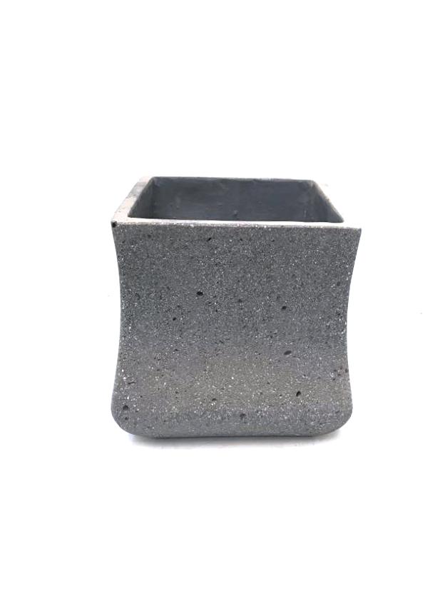 Sq Ficonstone Pot Plain Med Pots & Vases