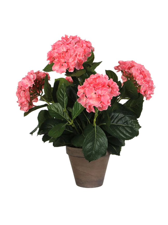 Hydrangea Pink in Pot Stan Grey Artificial Plants
