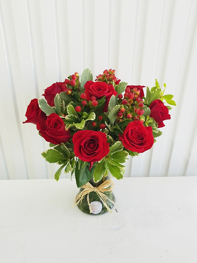 Flower Vase - Red Flower with Base
