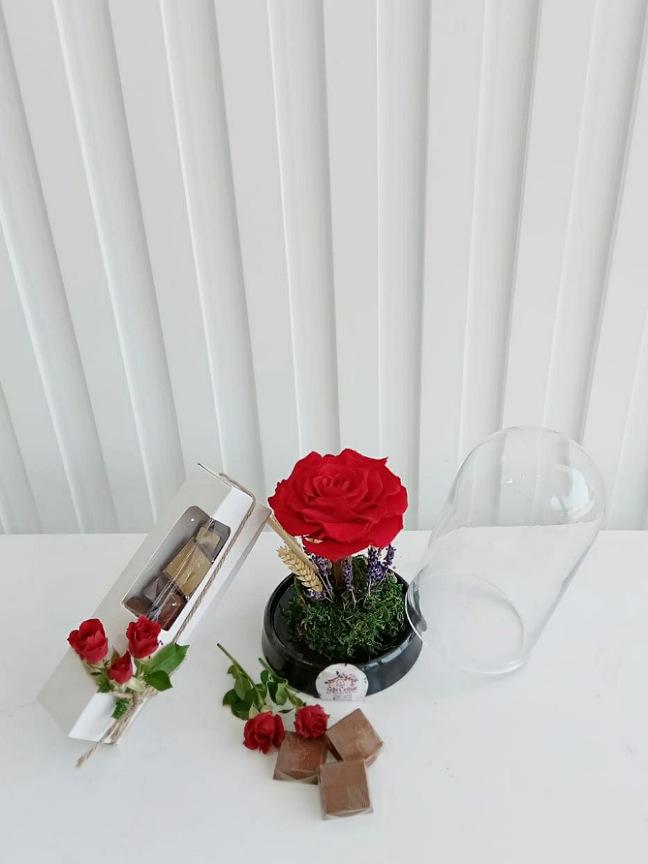 الوردة الدائمة الحمراء مع شوكولاتة 'سلة هدية'