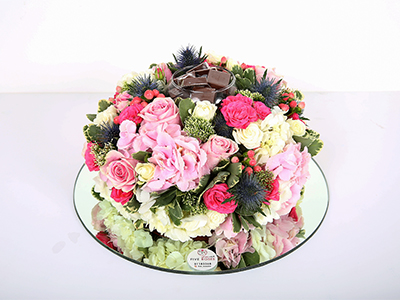 Flower And Chocolate Mirror Tray 'Bouquets'