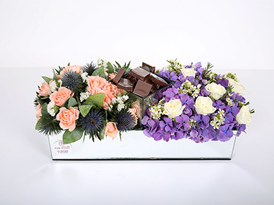 Flowers And Chocolates Tray - Mirror 'Bouquets'