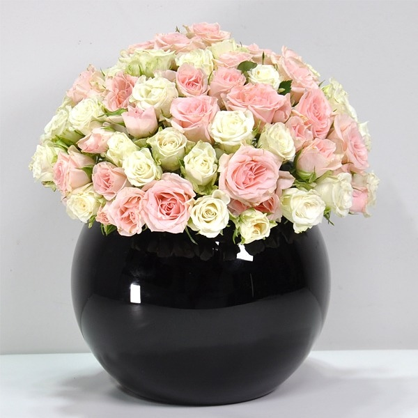 Flowers In A Black Vase 'Flower with Base'