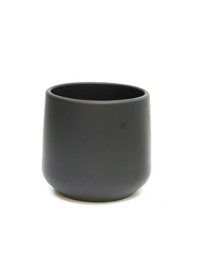 Amber pot round d. grey matt 14 Pots & Vases