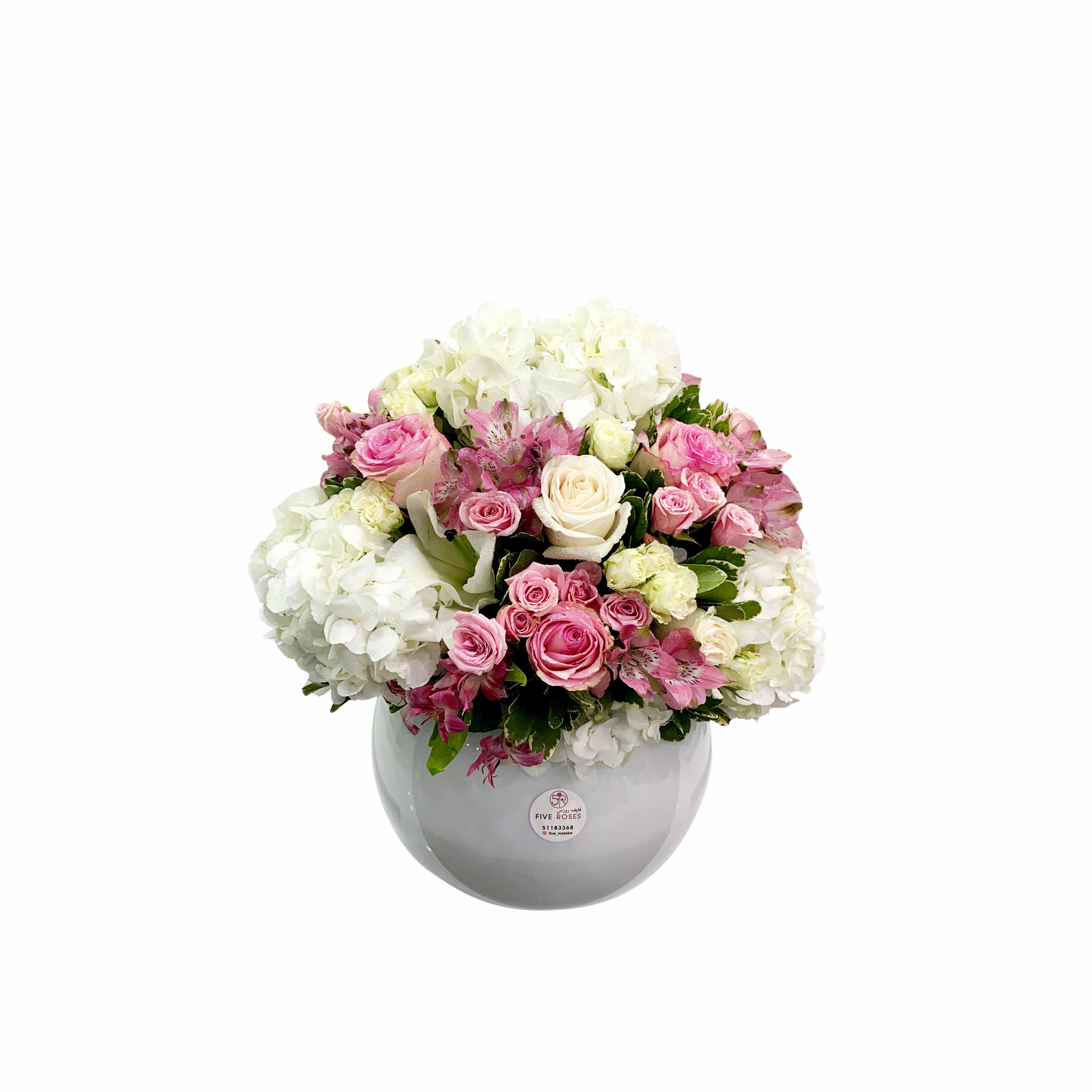 وايت فيش بول2  زهور مع قاعدة