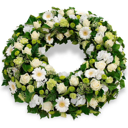White Ring Arrangement Flower with Base